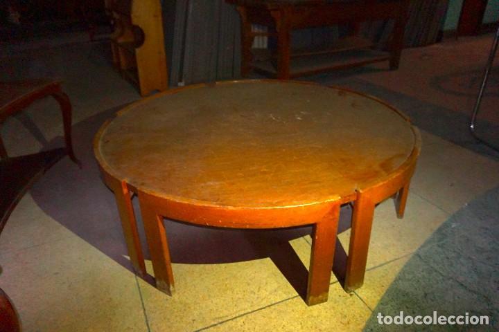 Antigüedades: Mesa baja de centro circular redonda de madera tienda grande - Foto 2 - 194718168