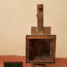 Antigüedades: DIFICIL,FAROL DE RENFE,H.MOZO CONSTRUCTOR VALLADOLID ,CRISTAL VERDE.VER DETALLES Y FOTOGRAFIAS.. Lote 194726377