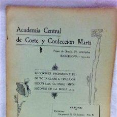 Antigüedades: ACADÉMIA CENTRAL DE CORTE Y CONFECCIÓN MARTÍ.LECCIONES SOBRE LA MODA.0CTUBRE 1908.TEMPORADA INVIERNO. Lote 219638242
