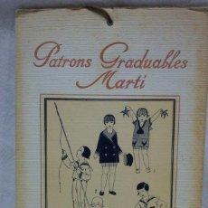 Antigüedades: PATRONES GRADUABLES MARTÍ.EDICIONES MARTÍ,GARÇONS Nº 1-26.CUADERNO LÁMINAS Y 2 PLANCHAS PATRONES. Lote 194728765
