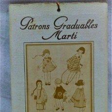 Antigüedades: PATRONES GRADUABLES MARTÍ.EDICIONES MARTÍ,FILLETTES Nº 2-23.CUADERNO LÁMINAS Y 2 PLANCHAS PATRONES. Lote 194729005
