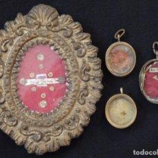 Antigüedades: CONJUNTO DE CUATRO RELICARIOS CON FALTAS. SIGLO XIX.. Lote 194735788