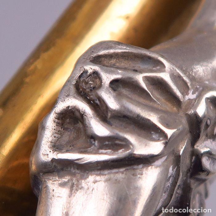 Antigüedades: C1840 - IMPORTANTE CRUCIFIJO DE ALTAR ANTIGUO EN PLATA CON SELLO JANUS - ALTO 60CM - PORCELANA FOTOS - Foto 2 - 194736022