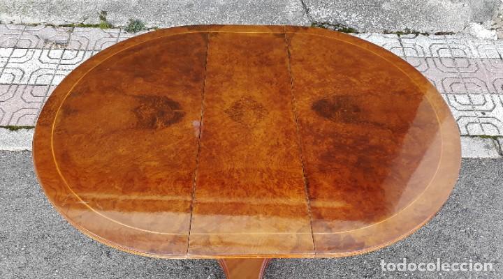 Antigüedades: Mesa de alas antigua superficie madera de raiz. Gran velador antiguo estilo victoriano inglés. - Foto 5 - 194736932
