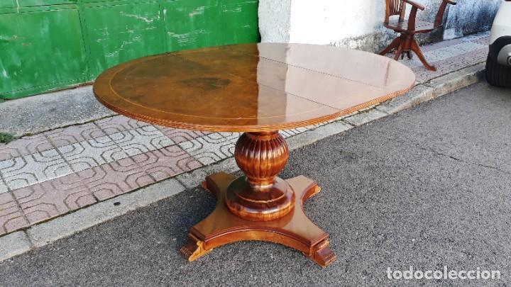 Antigüedades: Mesa de alas antigua superficie madera de raiz. Gran velador antiguo estilo victoriano inglés. - Foto 6 - 194736932