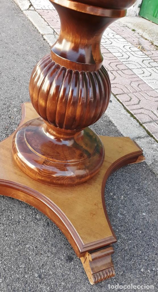 Antigüedades: Mesa de alas antigua superficie madera de raiz. Gran velador antiguo estilo victoriano inglés. - Foto 9 - 194736932