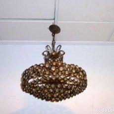 Antigüedades: LAMPARA CIRCULAR DE 5 AROS Y 5 LUCES.BRONCE CON LAGRIMAS.. Lote 194740325