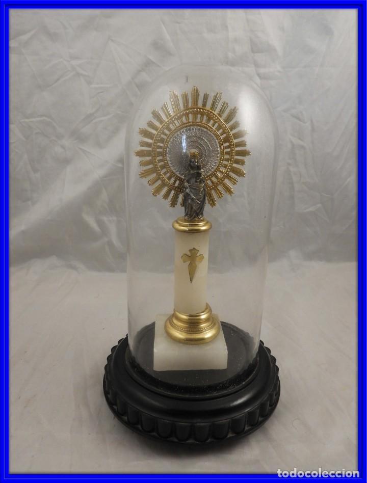 VIRGEN DEL PILAR CON SU FANAL PROTECTOR DE CRISTAL (Antigüedades - Religiosas - Orfebrería Antigua)