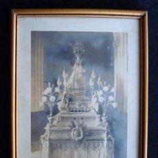 Antigüedades: LITOGRAFÍA ENMARCADA VIRGEN NUESTRA SEÑORA DE GRACIA DE CAUDETE, 1914. 28,5X20 CM. IMAGEN DESTRUIDA . Lote 194748352