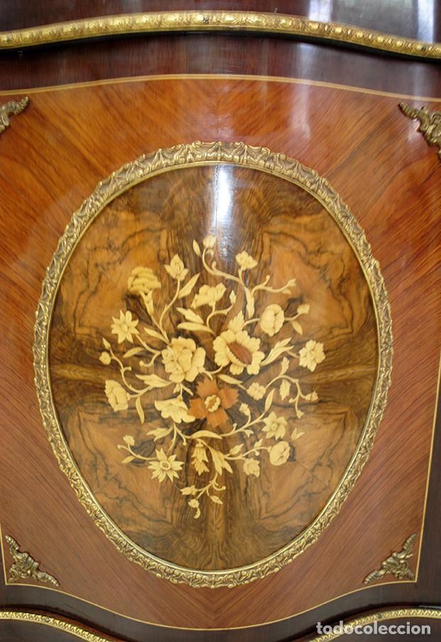 Antigüedades: MUEBLE ENTREDÓS RECIBIDOR MARQUETERÍA ESTILO IMPERIO - Foto 4 - 194753237