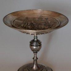 Antigüedades: COUPE SUR PIED – BRONZE ARGENTÉ – FIN XIXE. Lote 194754097