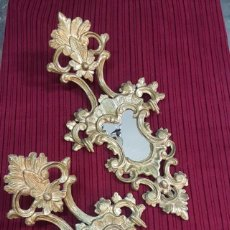 Antigüedades: PAREJA DE CORNUCOPIAS O ESPEJOS GRANDE EN PAN DE ORO.. Lote 194755370