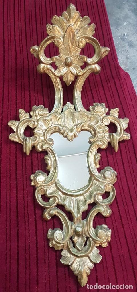 Antigüedades: Pareja de cornucopias o espejos grande en pan de oro. - Foto 2 - 194755370