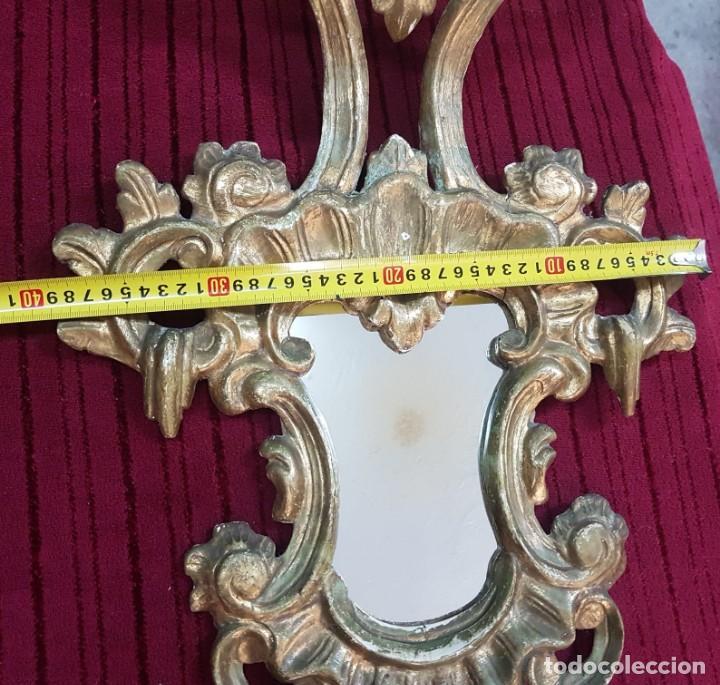 Antigüedades: Pareja de cornucopias o espejos grande en pan de oro. - Foto 4 - 194755370