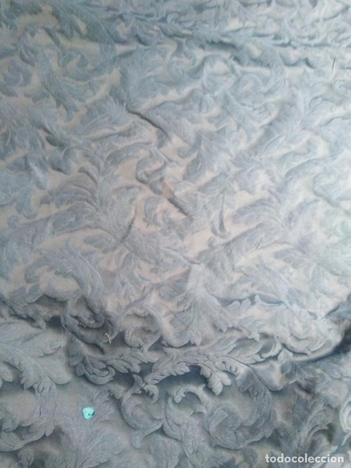 Antigüedades: pieza tela damasco brocado azul ideal virgen inmaculada semana santa 4,50m x 140 cm ideal confeccion - Foto 3 - 270646628