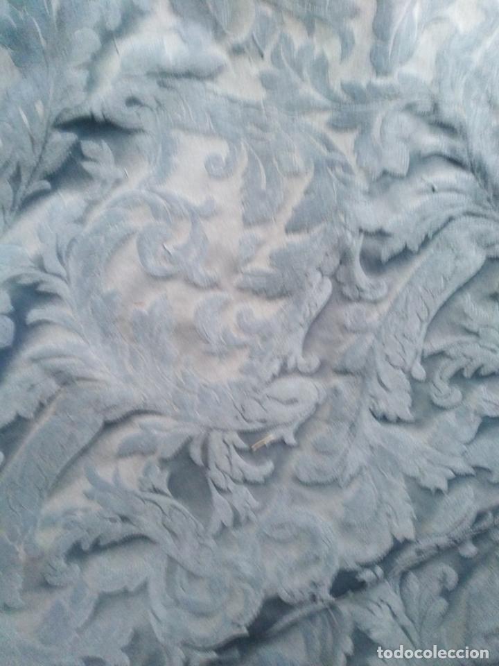Antigüedades: pieza tela damasco brocado azul ideal virgen inmaculada semana santa 4,50m x 140 cm ideal confeccion - Foto 7 - 270646628
