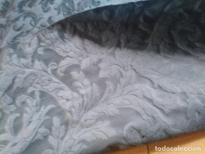 Antigüedades: pieza tela damasco brocado azul ideal virgen inmaculada semana santa 4,50m x 140 cm ideal confeccion - Foto 8 - 270646628