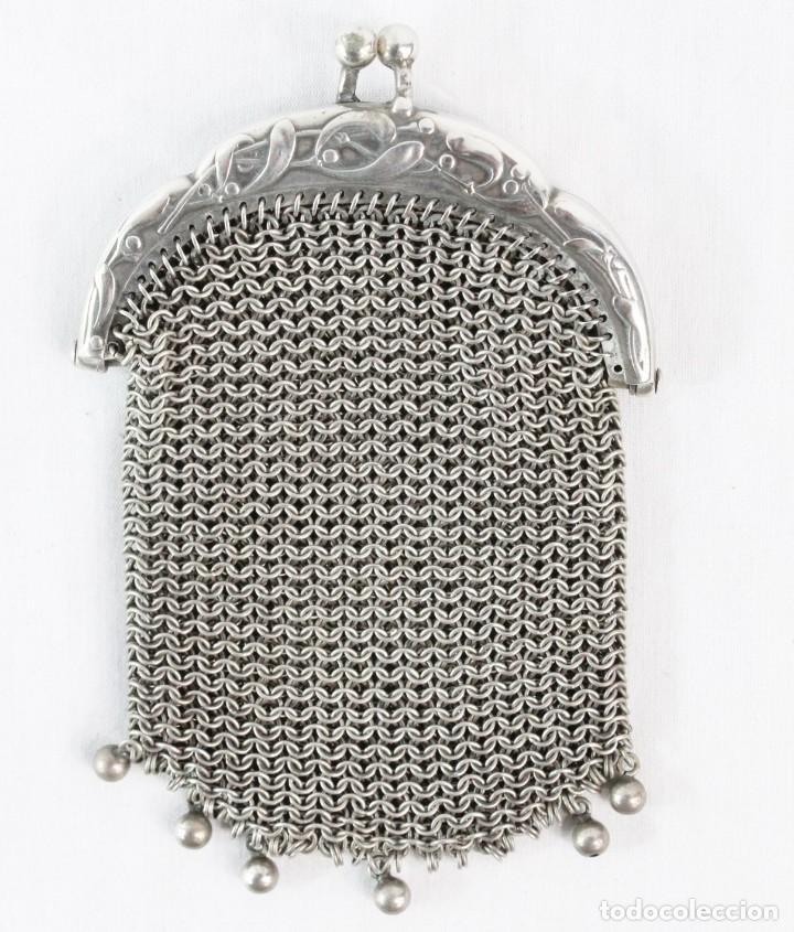 Antigüedades: Precioso monedero compartimentado en plata Art Nouveau fines s XIX - Foto 2 - 194756465