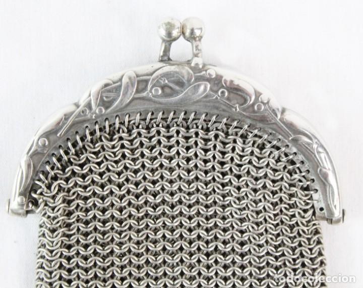 Antigüedades: Precioso monedero compartimentado en plata Art Nouveau fines s XIX - Foto 3 - 194756465