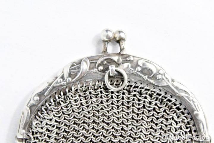 Antigüedades: Precioso monedero compartimentado en plata Art Nouveau fines s XIX - Foto 7 - 194756465