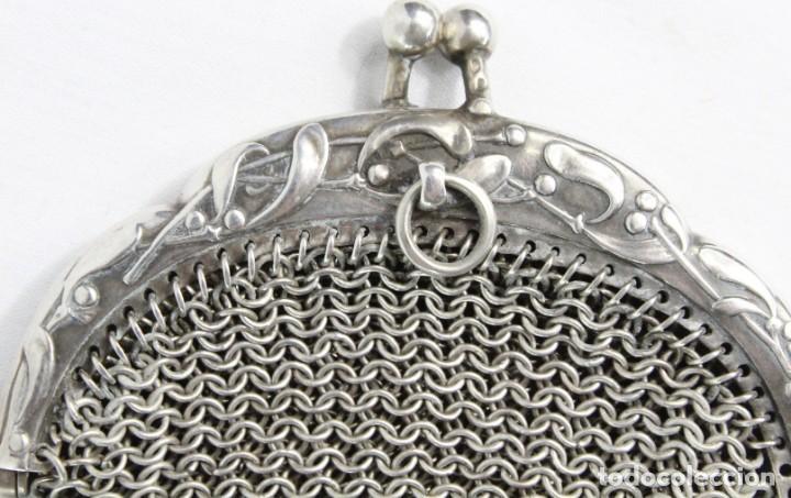 Antigüedades: Precioso monedero compartimentado en plata Art Nouveau fines s XIX - Foto 8 - 194756465