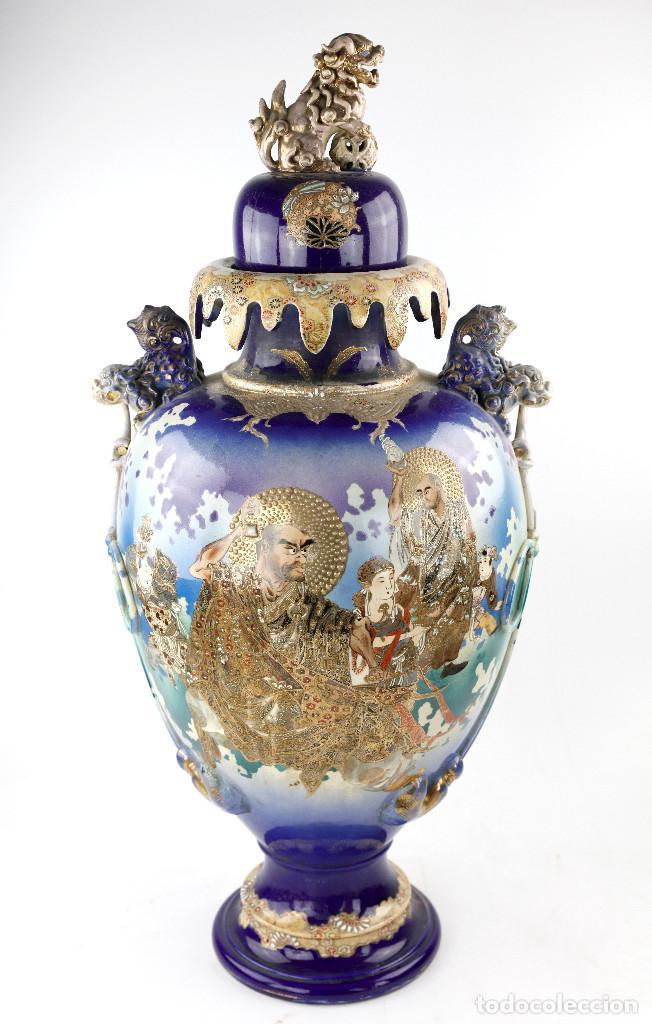 JARRÓN DE SACSUMA 70 CM DE ALTURA TOTAL. PRINCIPIOS S.XX. (Antigüedades - Porcelana y Cerámica - Japón)