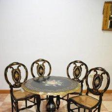 Antigüedades: SILLAS ANTIGUAS EBONIZADAS ISABELINAS CON MESA A JUEGO. Lote 194759057