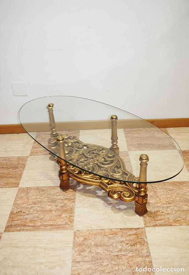 MESA ANTIGUA DE CENTRO PIE DE MADERA (Antigüedades - Muebles Antiguos - Mesas Antiguas)