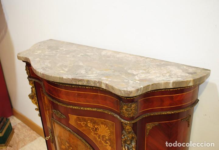 Antigüedades: MUEBLE ANTIGUO ENTREDÓS MARQUETERIA Y BRONCE ESTILO IMPERIO - Foto 4 - 194759583
