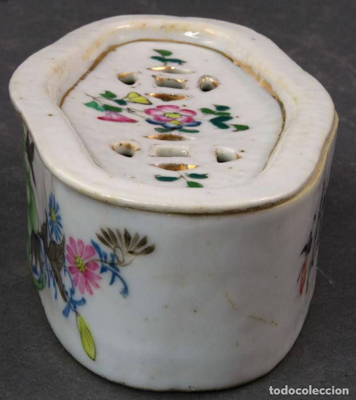 Antigüedades: Jabonera con porcelana china pintada segunda mitad del siglo XIX - Foto 2 - 194765523
