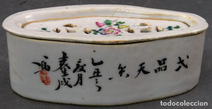 Antigüedades: Jabonera con porcelana china pintada segunda mitad del siglo XIX - Foto 3 - 194765523