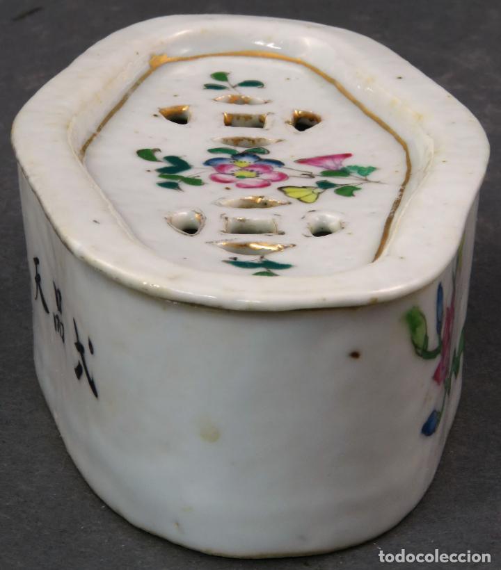 Antigüedades: Jabonera con porcelana china pintada segunda mitad del siglo XIX - Foto 4 - 194765523