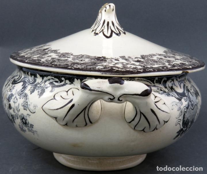 Antigüedades: Sopera de fuente en loza esmaltada La Cartuja Pickman siglo XX - Foto 5 - 194766070