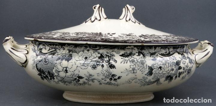 Antigüedades: Sopera de fuente en loza esmaltada La Cartuja Pickman siglo XX - Foto 6 - 194766070