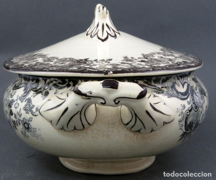 Antigüedades: Sopera de fuente en loza esmaltada La Cartuja Pickman siglo XX - Foto 7 - 194766070