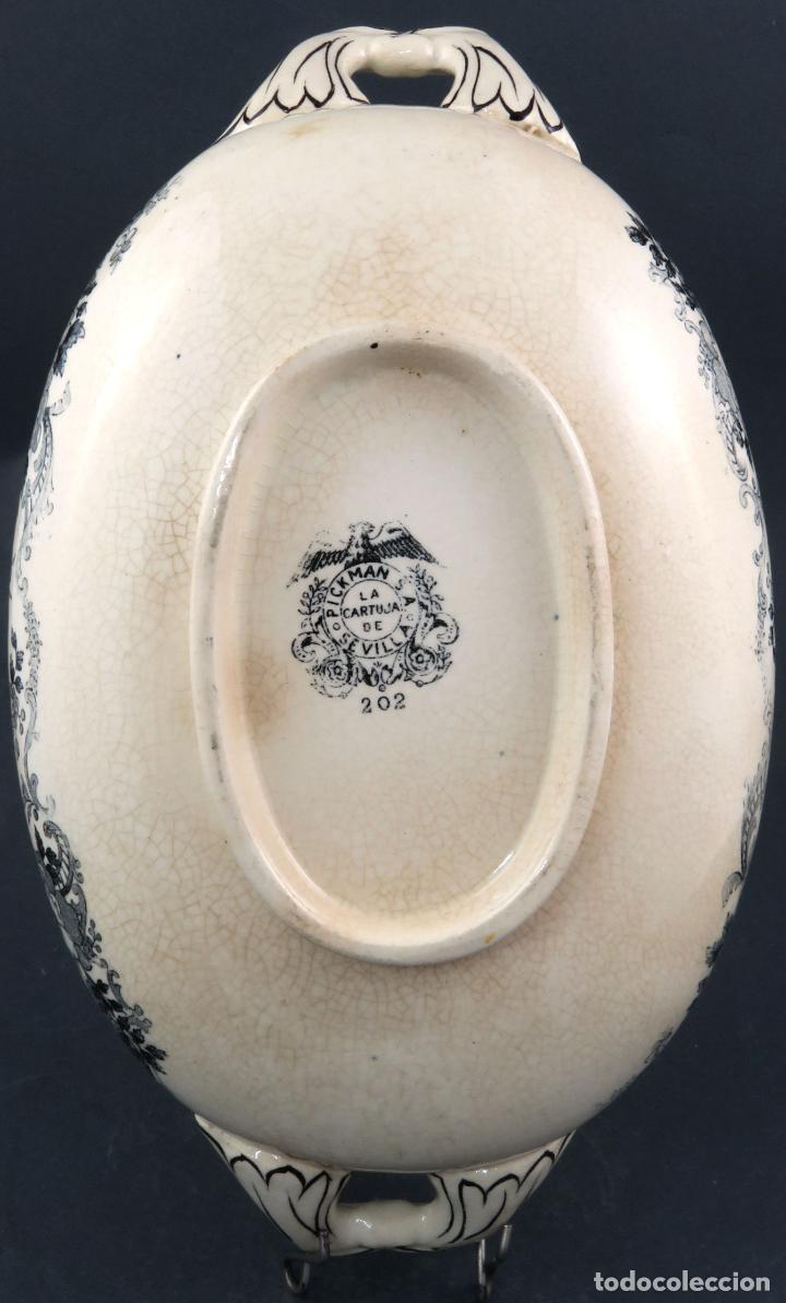 Antigüedades: Sopera de fuente en loza esmaltada La Cartuja Pickman siglo XX - Foto 10 - 194766070