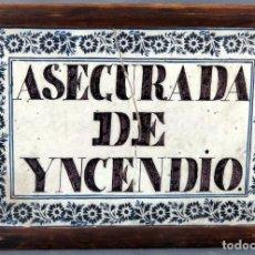 Antigüedades: PLACA AZULEJO EN CERÁMICA LEVANTINA AVISO ASEGURADA DE INCENDIO FINALES DEL XVIII PRINCIPIOS DEL XIX. Lote 194775125