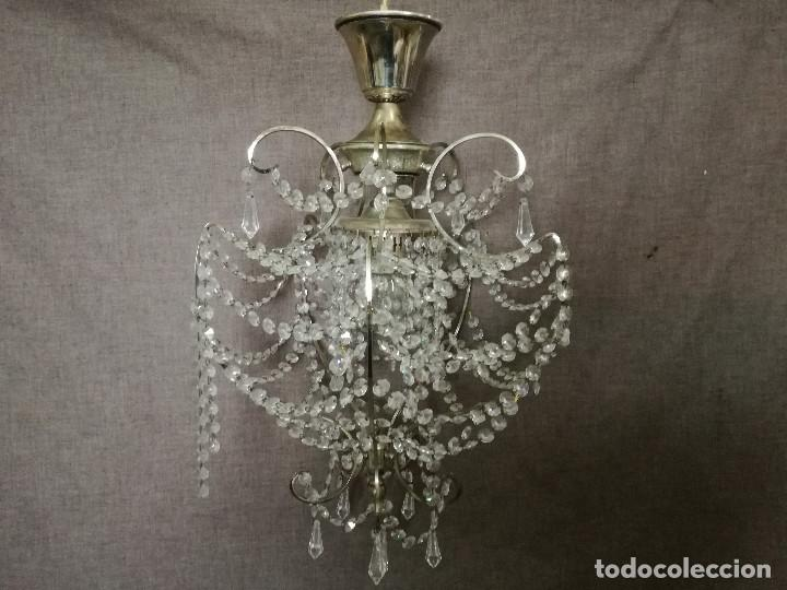LÁMPARA DE TECHO CON MULTITUD DE LÁGRIMAS DE CRISTAL, ANTIGUA O VINTAGE (Antigüedades - Iluminación - Lámparas Antiguas)
