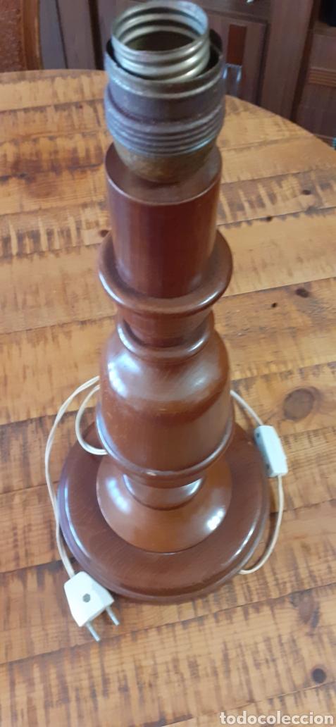 PIE DE LÁMPARA SOBREMESA DE MADERA AÑOS 70/80 (Antigüedades - Iluminación - Lámparas Antiguas)