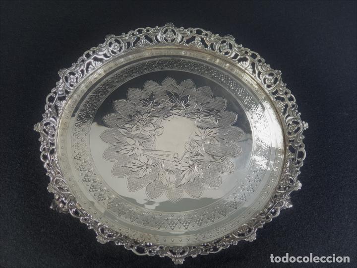Antigüedades: bandeja plato en plata ley marcado con contraste - Foto 7 - 194820726