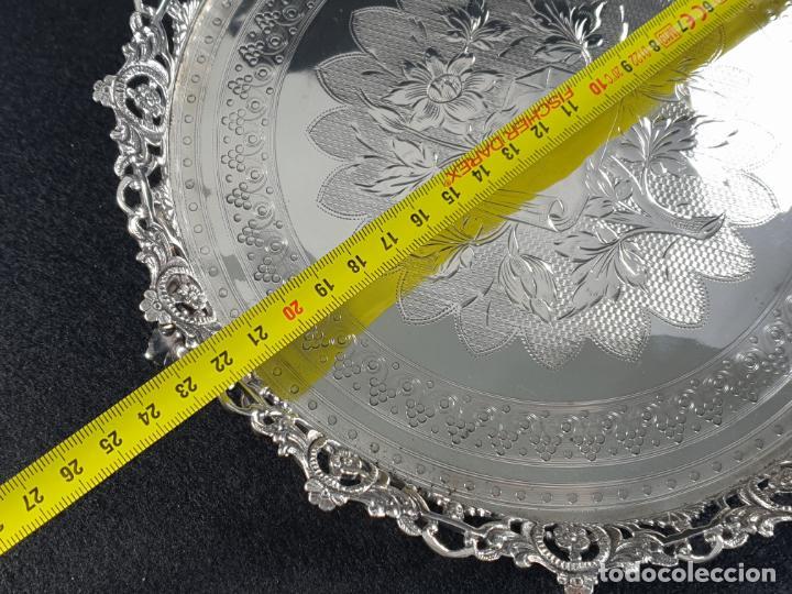 Antigüedades: bandeja plato en plata ley marcado con contraste - Foto 8 - 194820726