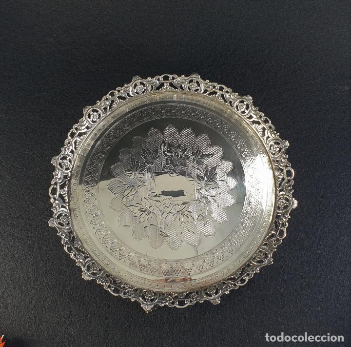 Antigüedades: bandeja plato en plata ley marcado con contraste - Foto 12 - 194820726