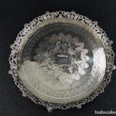 Antigüedades: BANDEJA PLATO EN PLATA LEY MARCADO CON CONTRASTE. Lote 194820726