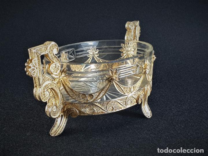 Antigüedades: centro de mesa florera en plata ley marcado con contraste y cristal XIX - Foto 4 - 194839773