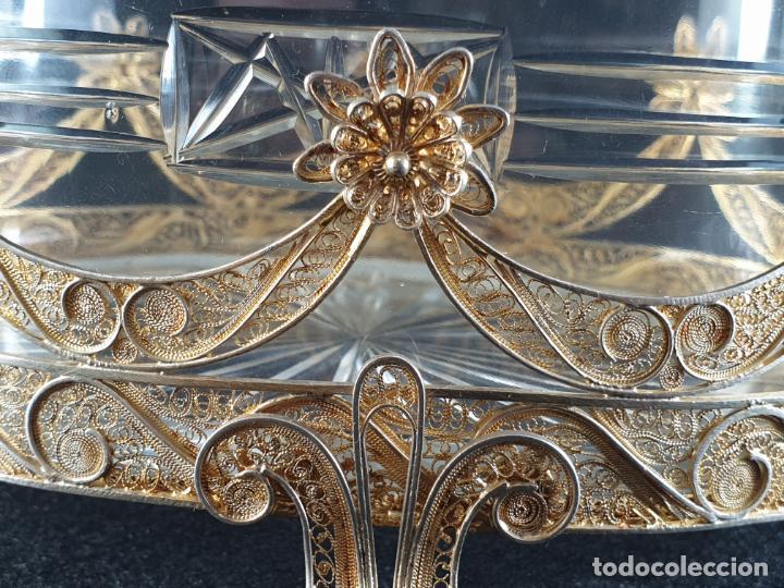 Antigüedades: centro de mesa florera en plata ley marcado con contraste y cristal XIX - Foto 7 - 194839773