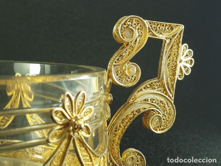 Antigüedades: centro de mesa florera en plata ley marcado con contraste y cristal XIX - Foto 8 - 194839773