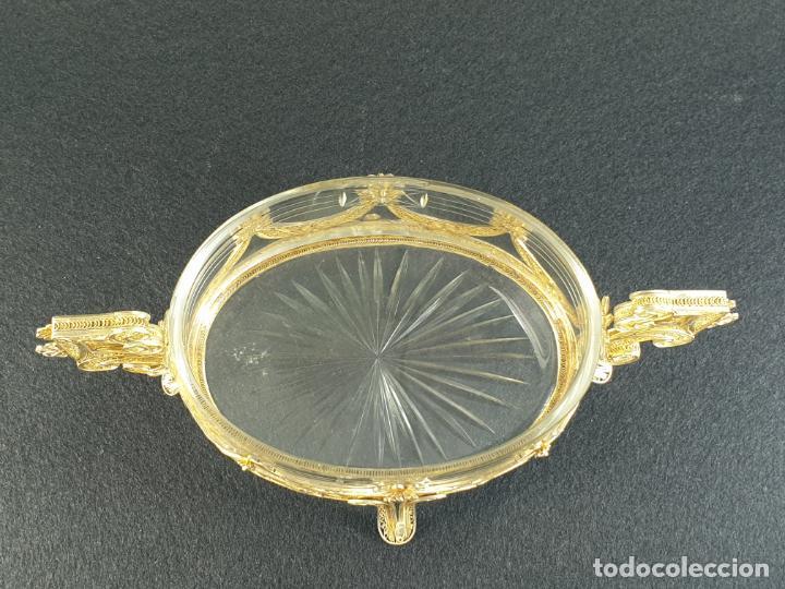 Antigüedades: centro de mesa florera en plata ley marcado con contraste y cristal XIX - Foto 10 - 194839773