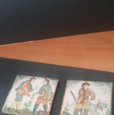 Antigüedades: LOTE DE 2 AZULEJOS CATALANES SIGLOS XVIII XIX MOTIVOS MUY RAROS BUEN ESTADO ALTA COLECCIÓN . Lote 194860531