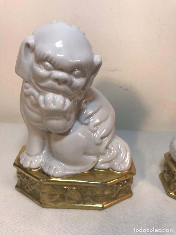 Antigüedades: Figuras Porcelana-España- Algora - Dos Perros Foo - Foto 2 - 194863033