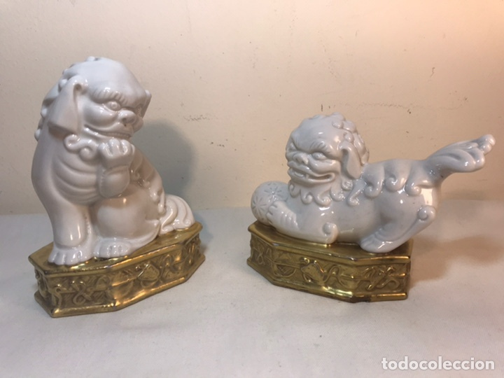Antigüedades: Figuras Porcelana-España- Algora - Dos Perros Foo - Foto 13 - 194863033